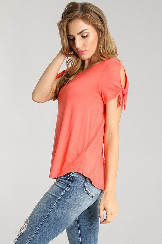 Tied Short Sleeved Solid Top