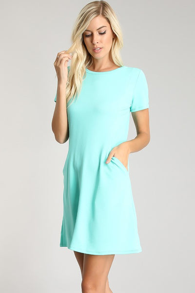 Solid Short Sleeve Dress with Pockets - Only S and M Left
