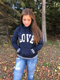 """Love"" High Neck Graphic Hoodie"