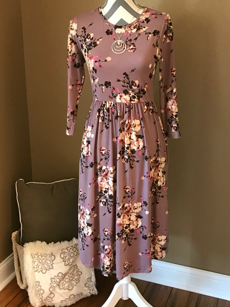 Floral 3/4 Sleeve Midi Dress
