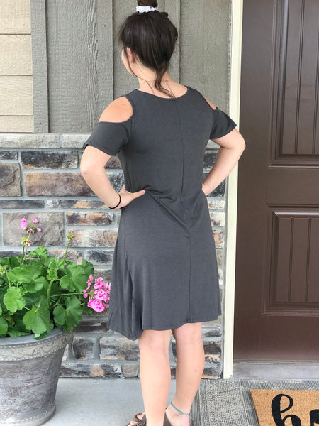 Flutter Sleeve Cold Shoulder Dress