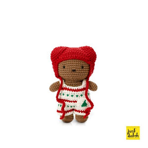 Boris handmade and his christmas overall + red hat