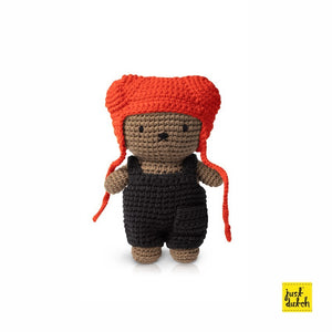 Boris handmade and his black overall + red hat