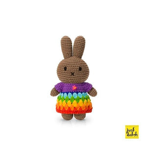 melanie handmade and her brightly coloured rainbow dress( 65th anniversary special edition)