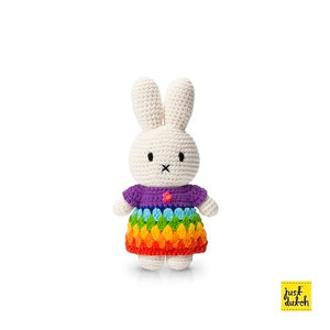 Miffy handmade  and her brightly rainbow dress( 65th anniversary special edition)