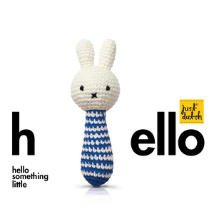 miffy handmade rattle, blue stripes + music