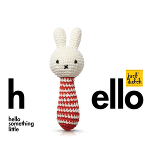 miffy handmade rattle, red stripes + music