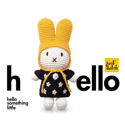 miffy handmade & her black flowerdress + yellow hat