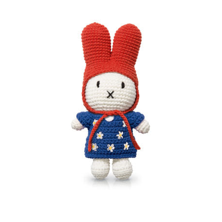 miffy handmade & her blue flower dress + red hat