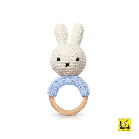Miffy handmade teether, pastel blue + music