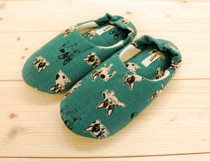 Soft Pipe Slipper Babouche Shoes French Bulldog Emerald Green