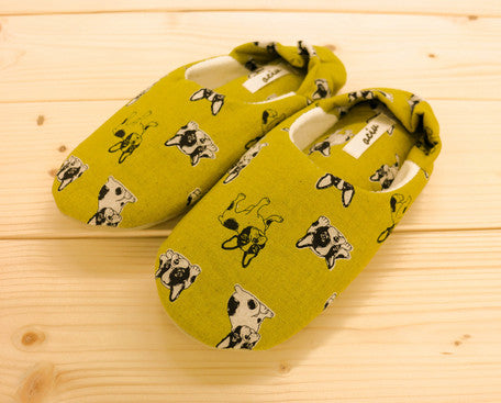 Soft Pipe Slipper Babouche Shoes French Bulldog Yellow