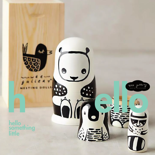 Set of 3 Nesting Dolls – Black and White Animals