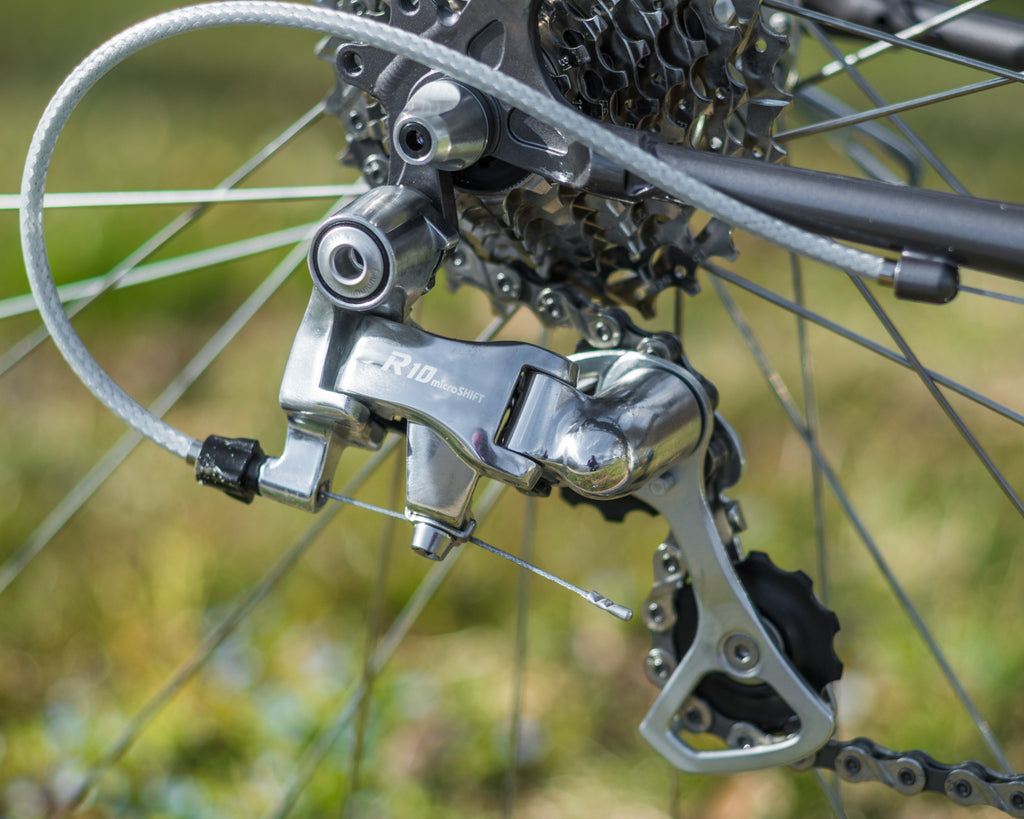 Microshift silver R10 rear derailleur on Velo Orange Campeur for Eroica