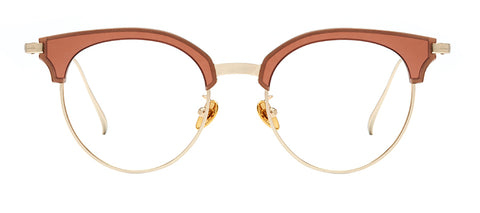 Brown cat eye glasses with gold rims