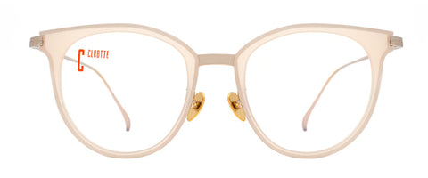 Cat eye beige eyeglasses with gold rims