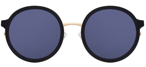 Tortoise circle-shaped sunglasses with gold rims sold online by Kaioptics
