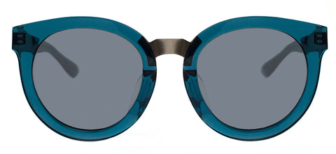 Blue round-shaped sunglasses with metal accents sold at Kaioptics