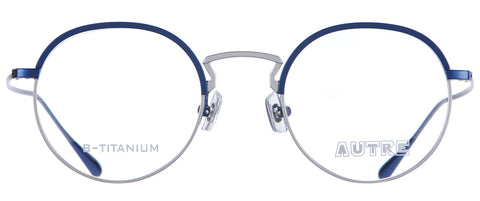 Silver and blue circle eyeglasses with silver rims