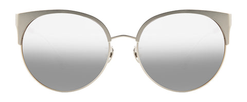 Grey metal sunglasses with round rims and a hint of cat-eye corners