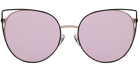 Girlish pink round sunglasses with steel-rimmed points