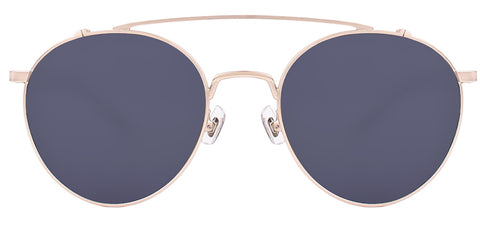Round aviator-style asian fit sunglasses with gold accents