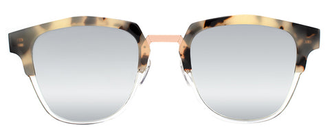 Tortoise squarish-shaped sunglasses with gold accents and mirror lenses