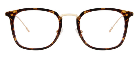 Tortoise square glasses with gold rims
