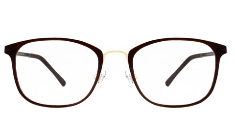 Brown square eyeglasses with gold rims