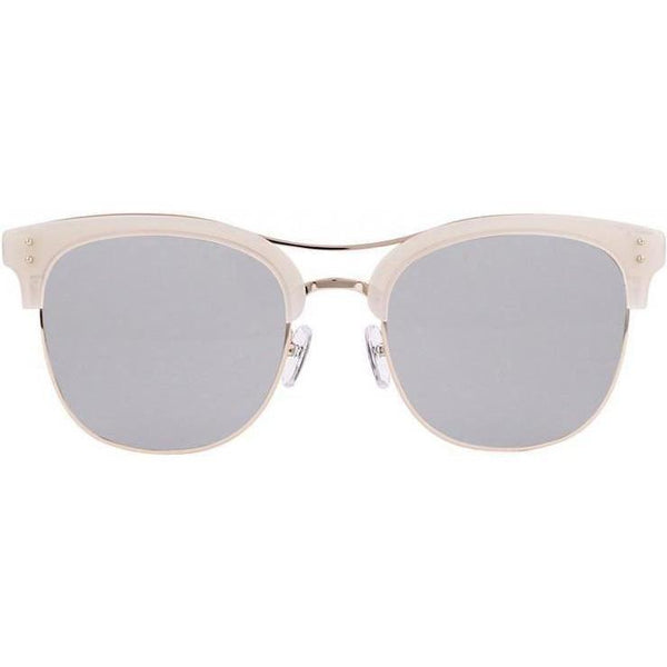 Beige brow line sunglasses with square gray lenses view 1