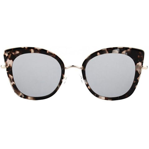 Beige and black camouflaged square sunglasses with pointy tips view 1