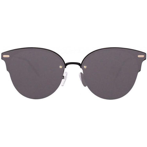 Monochrome cat-eye sunglasses with dark gray lenses view 1