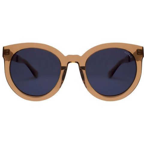 Transparent brown cat eye sunglasses view 1