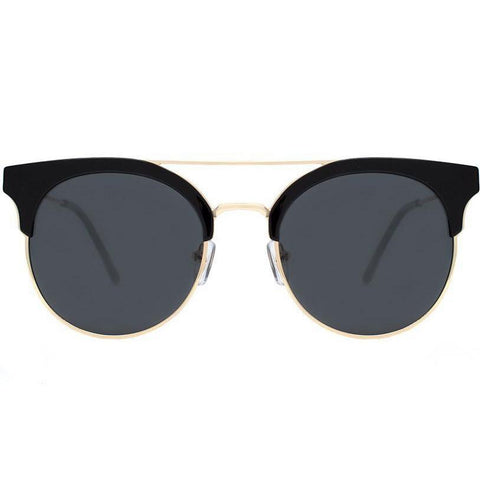 Black browline round sunglasses view 1