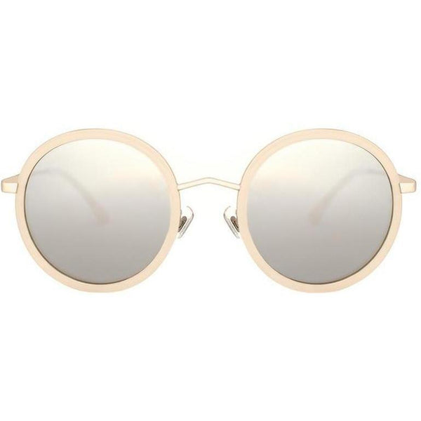 Beige round sunglasses with mirror lenses view 1