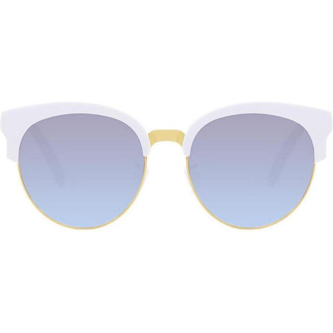 Oversized White cat-eye sunglasses with gold accents view 1