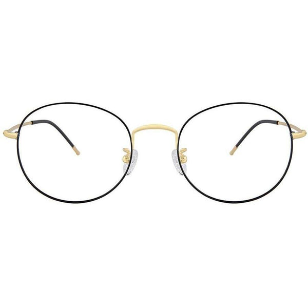 Black oval eyeglasses with gold accents view 1