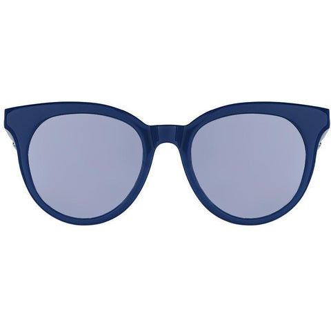 Blue round sunglasses with mirror blue lenses view 1