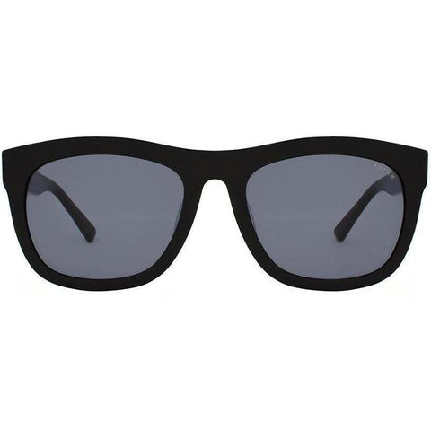 Bold black rectangular sunglasses view 1