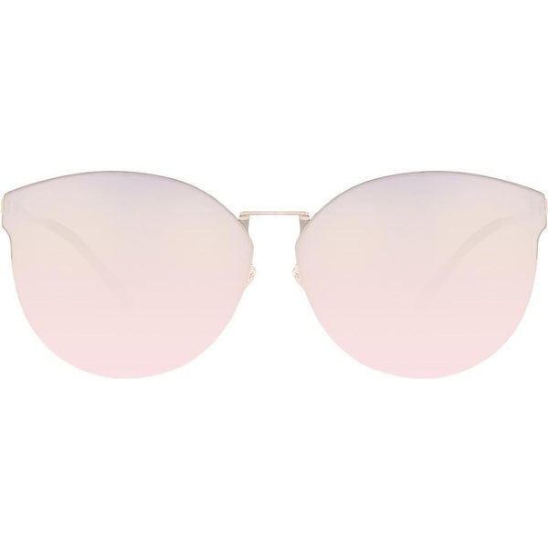 Pink cat eye sunglasses with mirrored lenses view 1