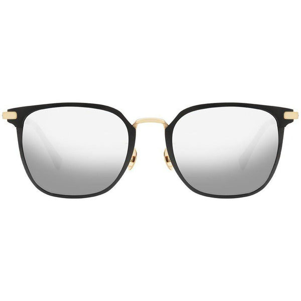 Black square sunglasses with gold accents and mirror lenses view 1