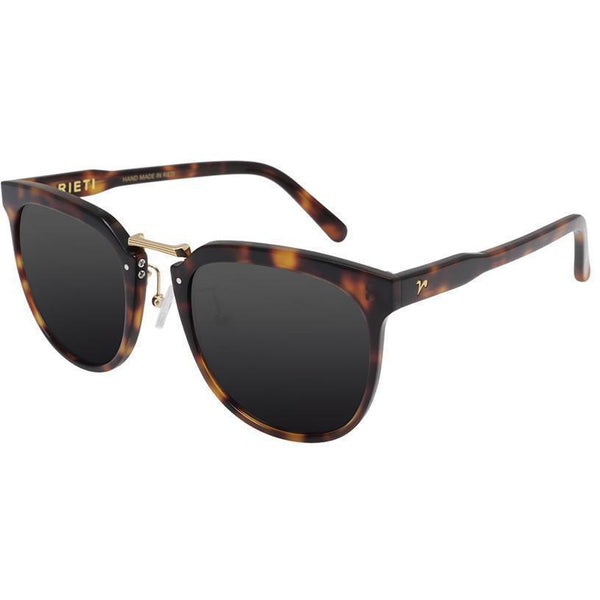 Tortoise semi circle sunglasses with gold accents view 2