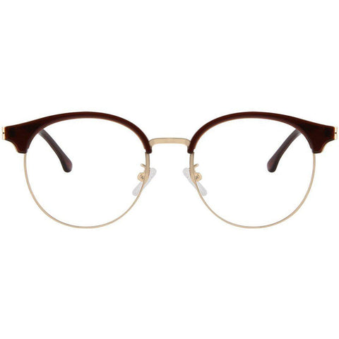 Wine brow line eyeglasses with gold accents view 1