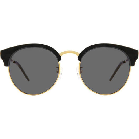 Black browline round sunglasses with gold accents view 1