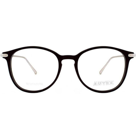 Black round glasses with silver accents view 1