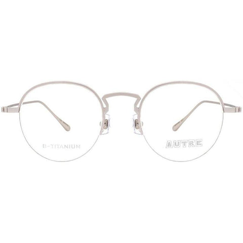 Silver half rim round glasses view 1
