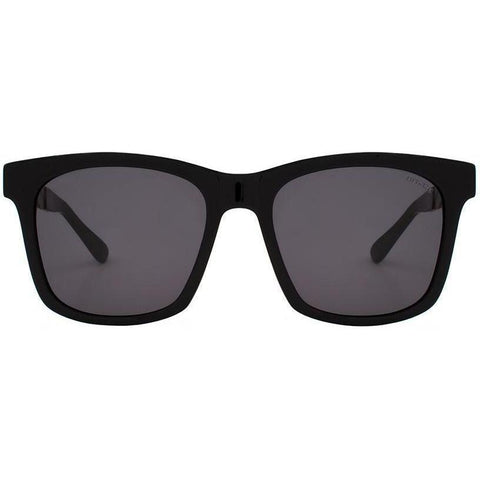 Over-size black square sunglasses with gold temples view 1