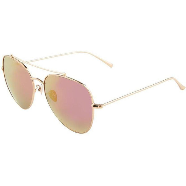 Gold aviator sunglasses with pink mirror lenses view 2