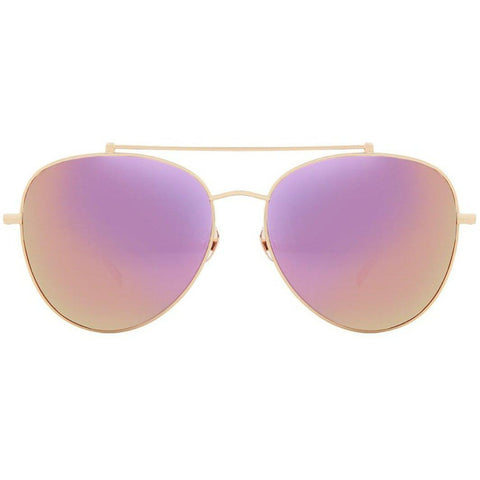Gold aviator sunglasses with pink mirror lenses view 1