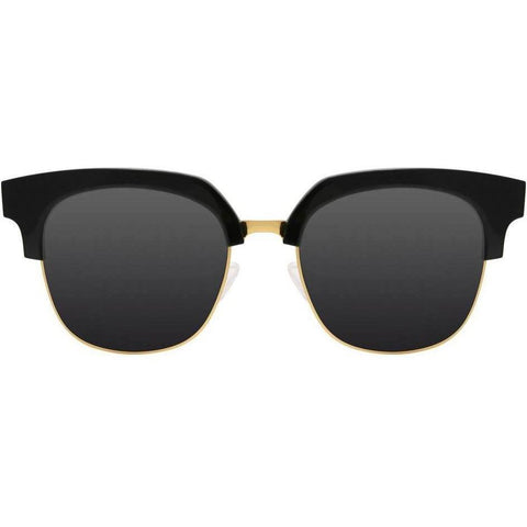 Black brow line square sunglasses with gold accents view 1